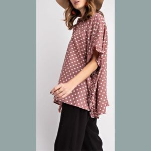 Wife of Eric Tops - Wine w White Polka-Dots Button Down w Ruffles Top